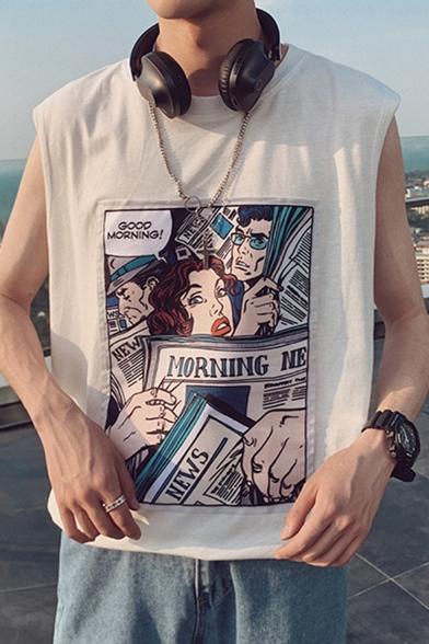 Summer Guys Trendy Comic Newspaper Figure Printed Round Neck Sleeveless Hip Hop Casual Tank Top