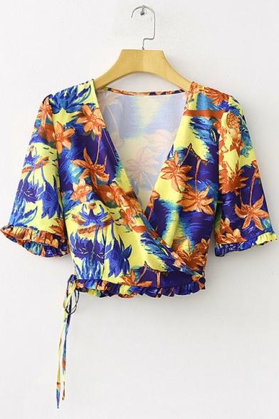 Summer Holiday Fashion Tropical Leaf Printed Surplice V-Neck Drawstring Hem Cropped Blouse Top