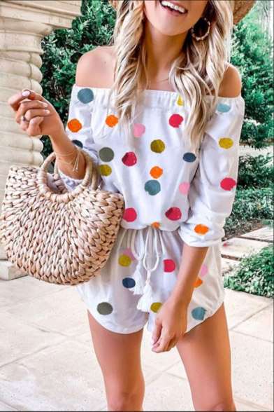 Summer Hot Stylish White Polka Dot Print Off Shoulder Long Sleeve Drawstring Waist Knit Rompers