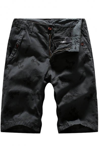 Summer New Fashion Coconut Tree All-over Printed Zip-fly Cargo Chino Shorts for Men
