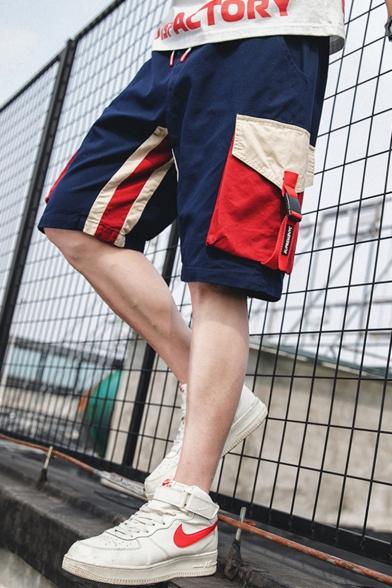 Summer New Fashion Colorblock Buckle Strap Flap Pocket Drawstring Waist Casual Cargo Shorts