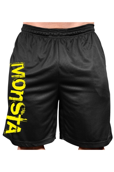 Summer Stylish Letter MONSTA Printed Elastic Waist Quick-drying Loose Active Shorts for Men