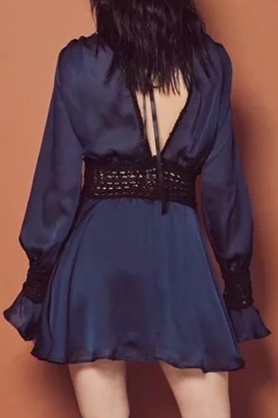 Trendy Hot Sexy Boho Style Plunge V-Neck Long Sleeve Back and Front Cutout Lace Patchwork Mini Dress for Party