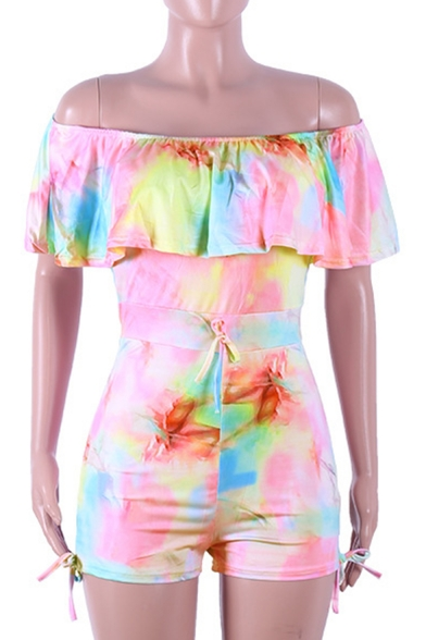 Trendy Summer Tie Dye Off Shoulder Ruffle Trim Bow-Tie Skinny Rompers