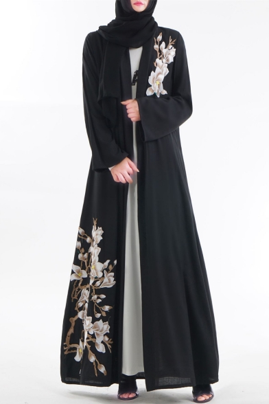 Trendy Womens Plain Long Sleeve Tie Waist Floral Embellished Open Front Maxi A-line Dress