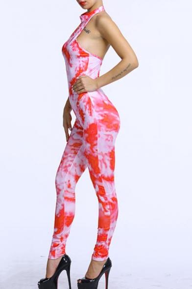 Women Hot Fashion Tie-dye Sexy Halter Backless Sleeveless Slinky Jumpsuits