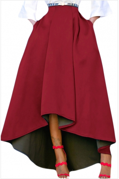 Women's Boutique Designer Solid Color High Low Hem Maxi Flared Skirt with Pocket