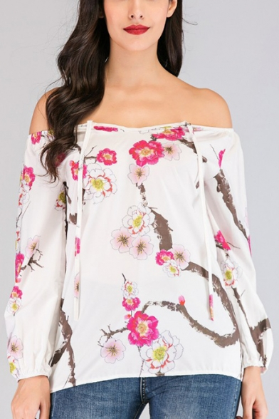 Womens Chic Floral Pattern Sexy Off the Shoulder Long Sleeve Blouse Top