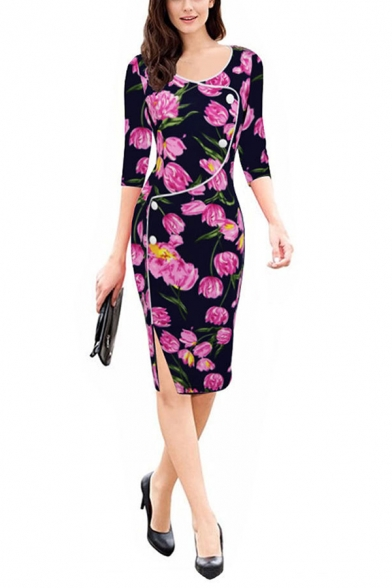 Womens Elegant Fashion Floral Printed Round Neck Long Sleeve Irregular Button Embellished Midi Pencil Dress