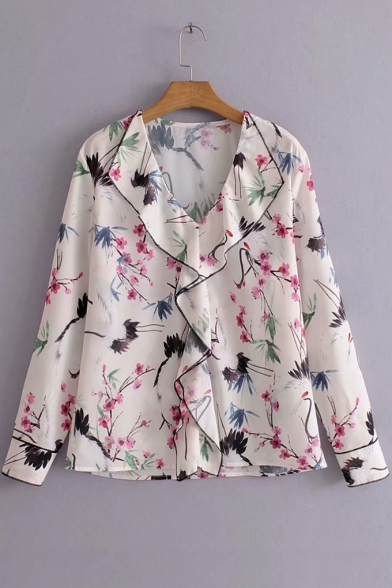 Womens Fancy White Floral Pattern Ruffled V-Neck Long Sleeve Casual Loose Blouse Top