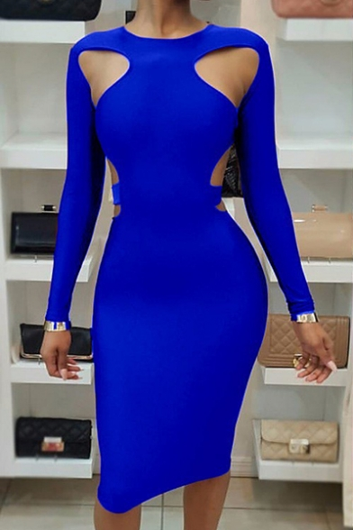 Womens Fashion Sexy Hollow Out Long Sleeve Round Neck Midi Bodycon Dress