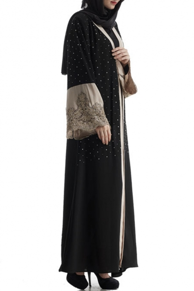 Womens Hot Fashion Black Long Sleeve Beading Embellished Patchwork Maxi Muslim Cardigan Dress