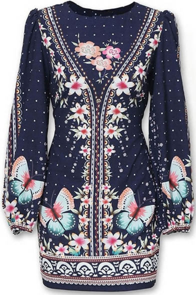Womens Hot Fashion Folk Style Floral Butterfly Print Bishop Sleeve Mini Fitted Dress