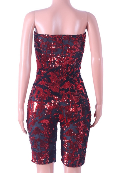 Womens Hot Stylish Red Sequin Embellished Sleeveless Velvet Bandeau Rompers