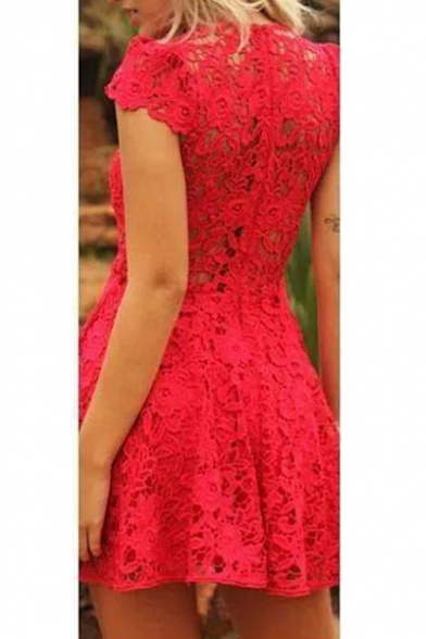 Womens Sexy Plunge V-Neck Short Sleeve Mini A-Line Red Lace Dress
