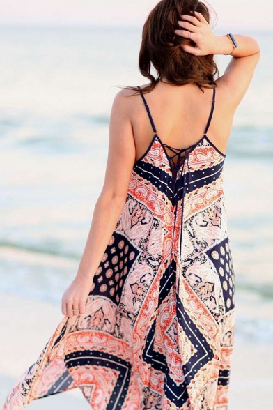 Womens Stylish Boho Style Tribal Printed V-Neck Sleeveless Maxi Beach Slip Dress