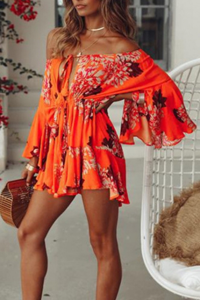 Womens Summer Holiday Orange Floral Print Off Shoulder Flared Sleeve Mini A-Line Dress