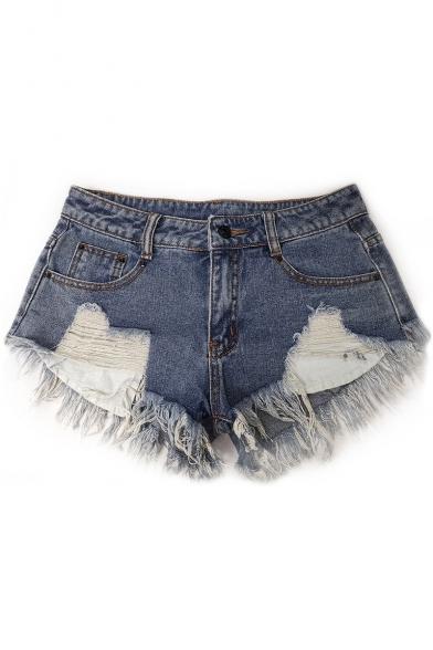 Womens Summer Sexy High Rise Distressed Frayed Hem Shredded Slouch Hot Pants Denim Shorts