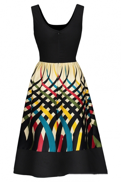 Womens Vintage Scoop Neck Sleeveless Fashion Printed Midi Black Fit and Flared Dress