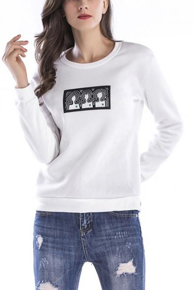 Abstract Figure Print Crewneck Long Sleeve Womens Regular Fit Sweatshirt
