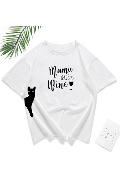 Cartoon Cat Letter MAMA NEEDS WINE Print White Loose Graphic Tee