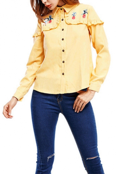 Chic Fancy Floral Embroidery Womens Fashion Ruffled Hem Long Sleeve Button Down Shirt