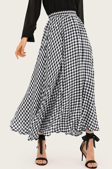 Classic Black and White Plaid Printed High Waist Maxi Beach Flowy Flared Skirt