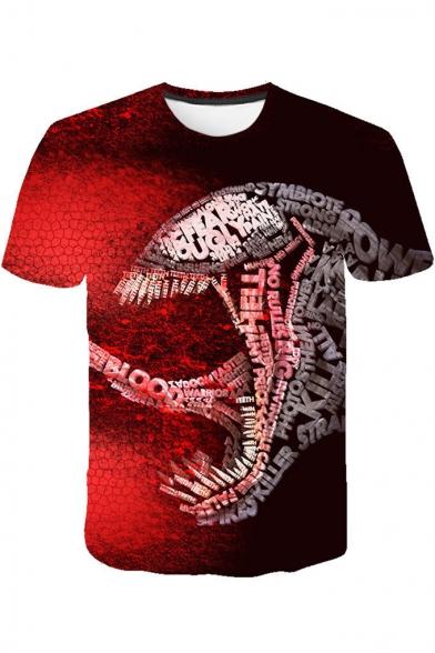 Cool 3D Venom Printed Basic Round Neck Short Sleeve Sport T-Shirt