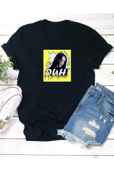 Cool Comic Character Letter DUH Print Short Sleeve Black T-Shirt
