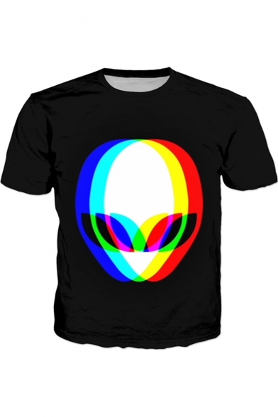 Creative 3D Alien Printed Round Neck Short Sleeve Black Casual Tee