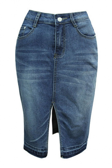 Fashion Bleached Dark Blue High Rise Split Front Midi Bodycon Denim Skirt