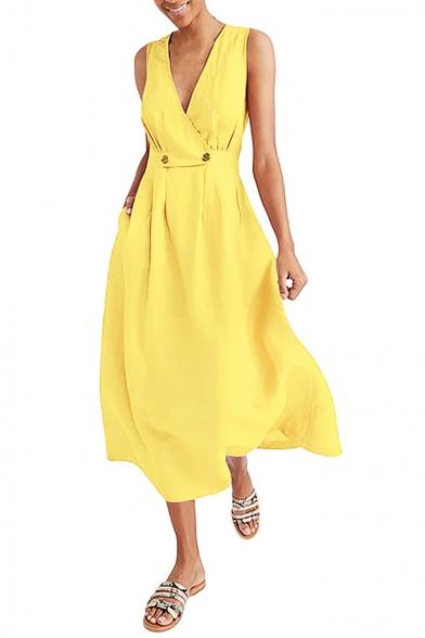 Fashion Simple Plain Surplice V-Neck Sleeveless Double-Button Waist Maxi A-Line Dress