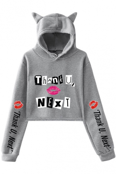 Fashion Unique Red Lip Letter THANK U NEXT Print Cat Ear Long Sleeve Cropped Hoodie