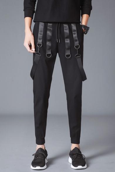 Guys New Stylish Strap Embellished Simple Plain Black Drawstring Waist Casual Sweatpants Pencil Pants