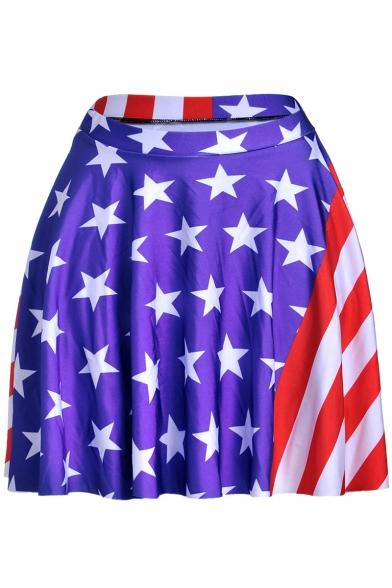 Hot Popular Star Striped Print Girls High Rise Navy Mini A-Line Skater Skirt