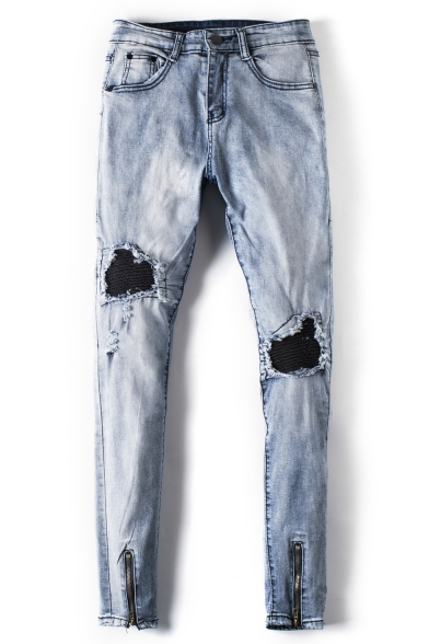 Men's Cool Fashion Zip Cuffs Pleated Knee Patched Light Blue Skinny Distressed Jeans