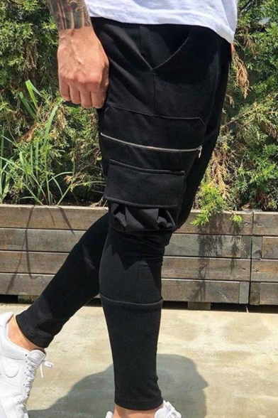 Men's Fashion Simple Plain Flap Pocket Zipper Embellishment Drawstring Waist Muscle Fitness Cotton Black Pencil Pants