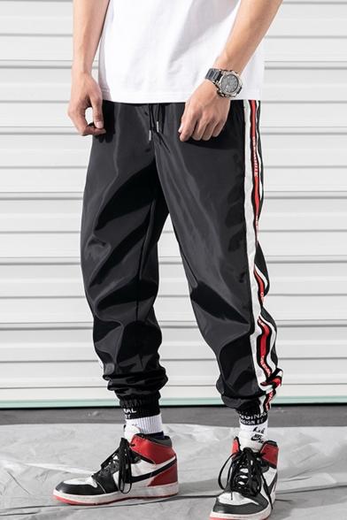 Men's Hip Pop Style Trendy Letter Stripe Side Drawstring Waist Elastic Cuffs Casual Loose Track Pants