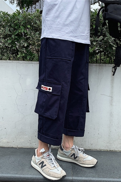Men's New Fashion Solid Color Flap Pocket Rolled Cuffs Cropped Straight Loose Cargo Pants