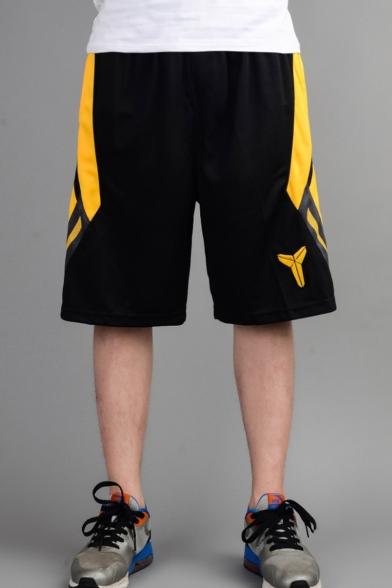 Men's Popular Fashion Colorblock Logo Printed Elastic Waist Black Casual Loose Basketball Shorts