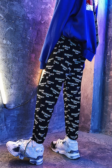 Men's Street Trendy Letter Printed Hip Pop Style Casual Loose Drawstring Track Pants