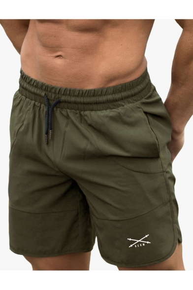Men's Summer Fashion Graphic Logo Printed Drawstring Waist Sports Training Shorts