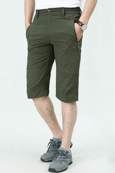 Men's Summer Fashion Simple Plain Zipped Pocket Quick-drying Casual Thin Assault Shorts Chino Shorts