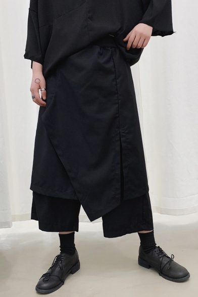 Men's Trendy Dark System Simple Plain Black Irregular Patched Design Fake Two Pieces Culottes Pants