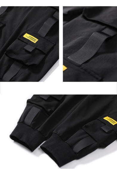 Men's Trendy Plain Multi-pocket Design Ribbon Embellished Drawstring Waist Black Cargo Pants