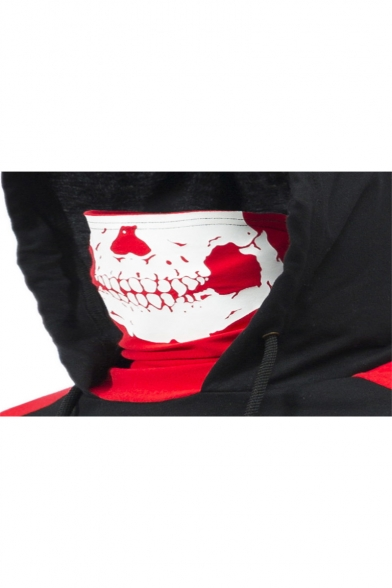 Mens Cool Skull Mask Hooded Colorblocked Short Sleeve Black Fitted T-Shirt