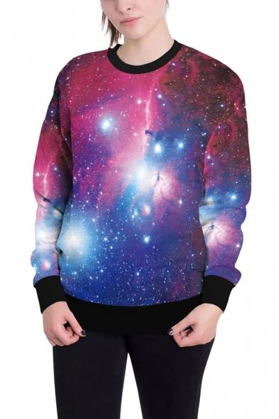 Popular 3D Purple Galaxy Pattern Round Neck Long Sleeve Loose Fit Sweatshirt