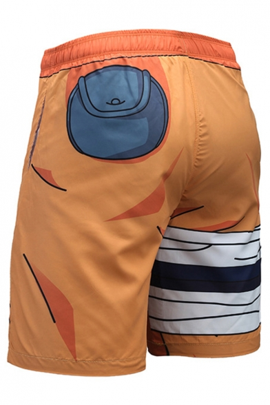 Popular Fashion Comic 3D Printed Orange Drawstring Waist Outdoor Sport Athletic Shorts with Liner for Guys