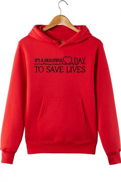 Popular Letter TO SAVE LIVES Printed Red Regular Fit Hoodie, LM544348