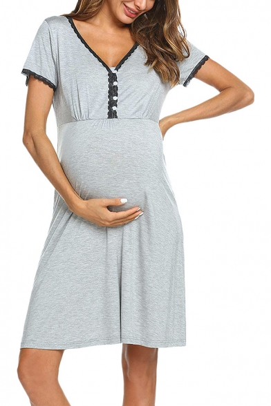 Pregnant Women Trendy Lace-Trimmed V-Neck Short Sleeve Casual Mini T-Shirt Dress
